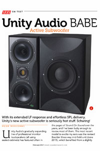 SOS review of Unity Audio BABE subwoofer by Hugh Robjohns.